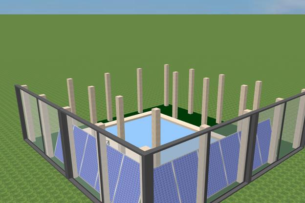 в центре цокольного этажа устроить бассейн
