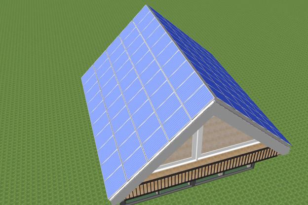 всю поверхность крыши солнечными батареями